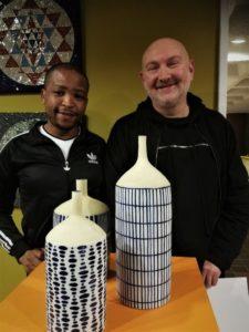 Linda Khuzwayo and Anthony Shapiro with their Delft vases